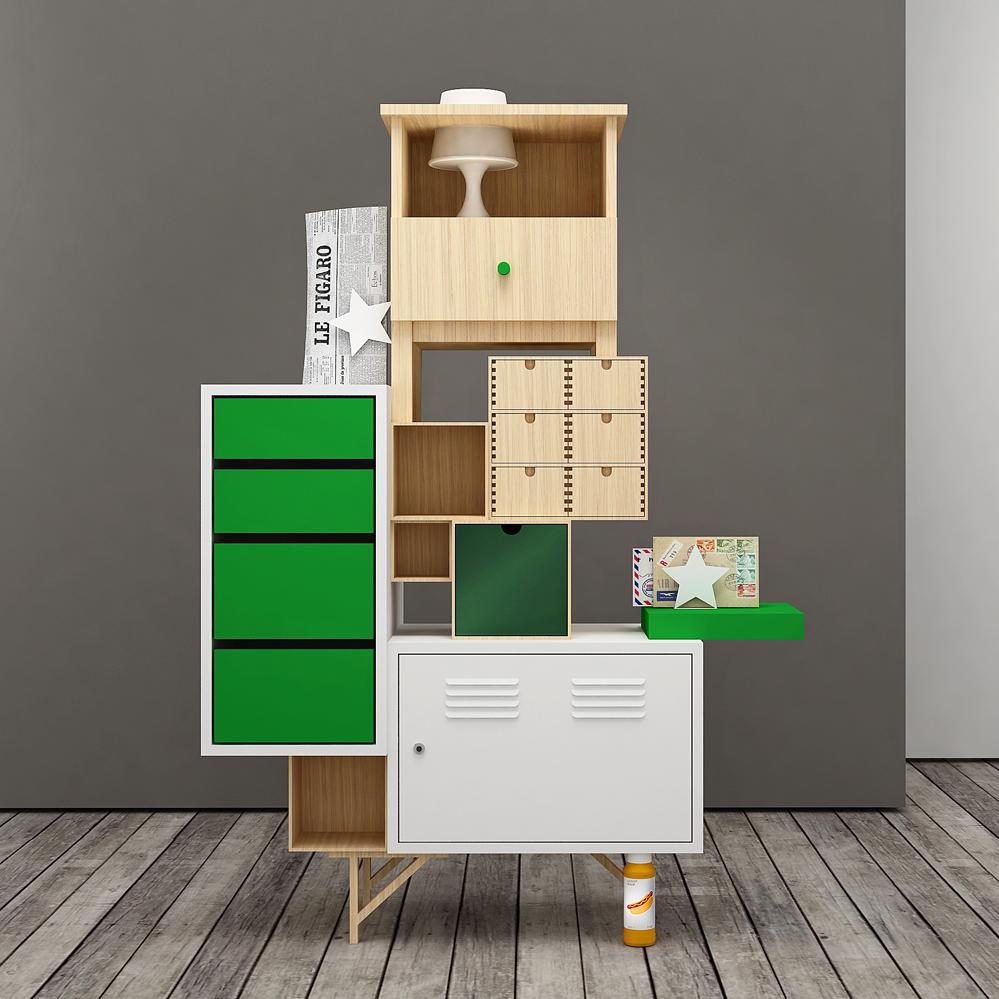 Unacredenza teste di legno - Mini cassettiera ikea ...